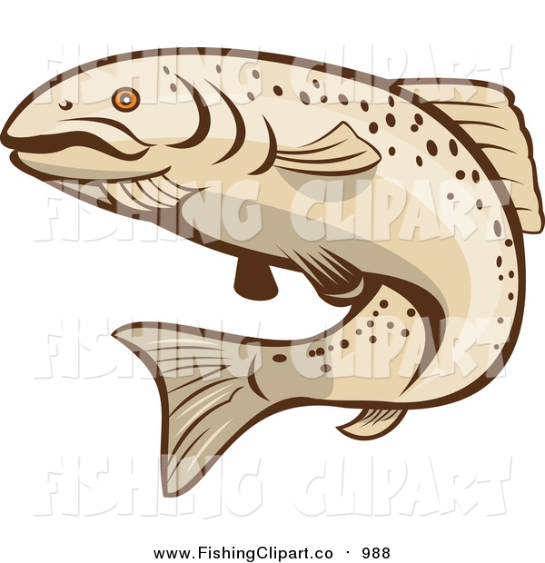 Clip Art of a Tan Rainbow Trout Fish