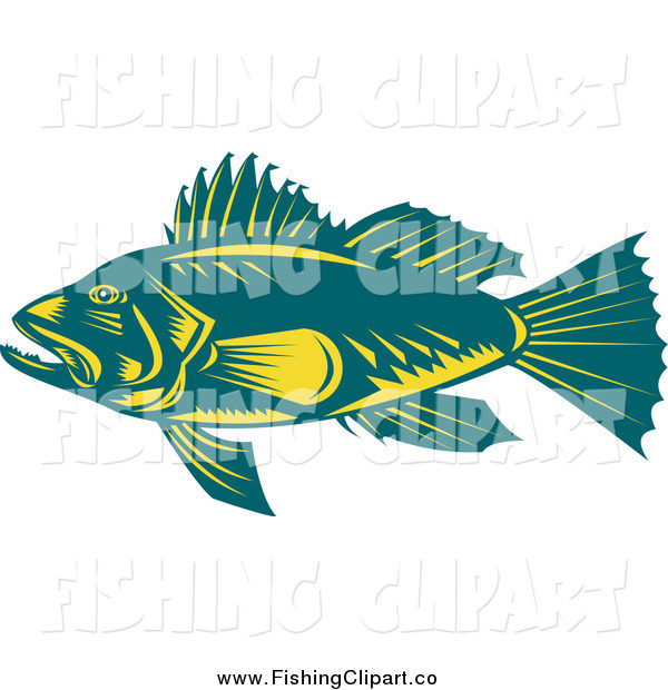 Clip Art of a Teal and Yellow Largemouth Bass Fish in Profile