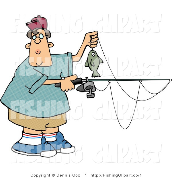 Clip Art of a Teenage Boy Holding a Rod and Reel with a Fish on the End of His Line