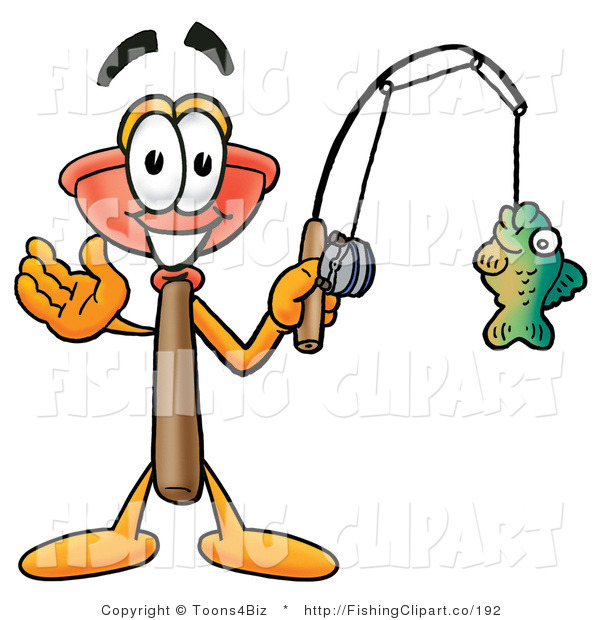 Clip Art of a Toilet Plunger Mascot Cartoon Character Holding a Fish on a Fishing Pole
