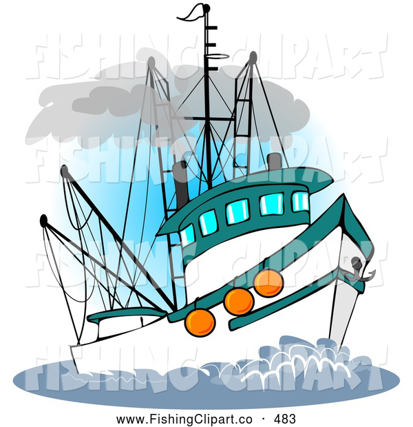 Clip Art of a Trawler Fishing Boat at Sea on White