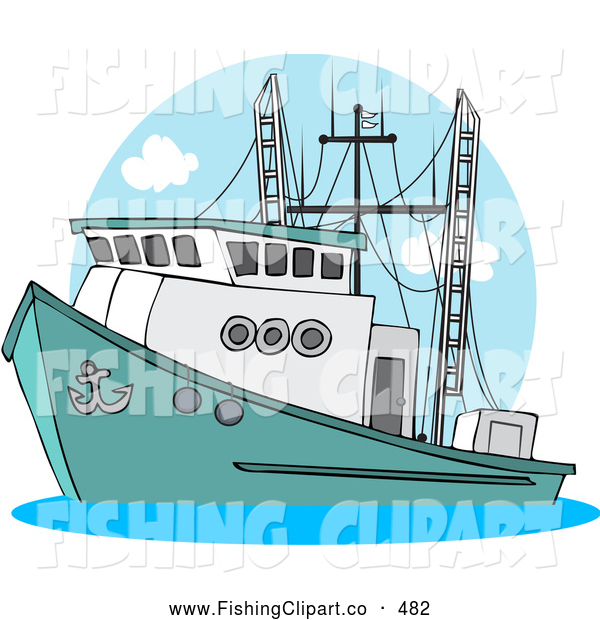 Clip Art of a Trawler Fishing Boat at Sea Sailing Left