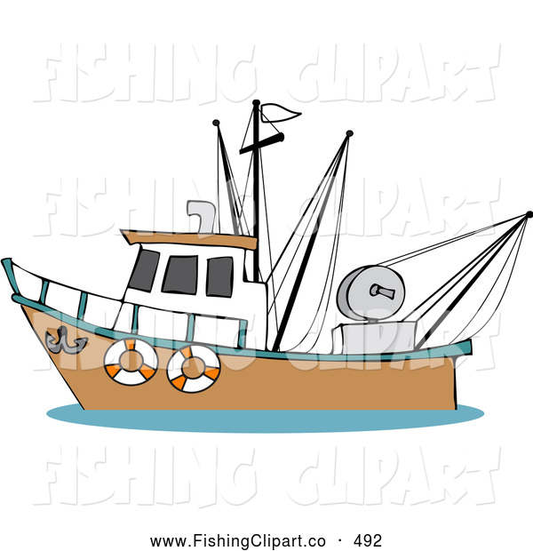 Clip Art of a Trawler Fishing Boat on the Ocean