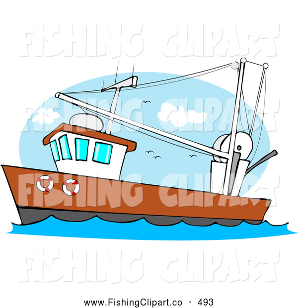 Clip Art of a Trawler Fishing Boat out at the Ocean