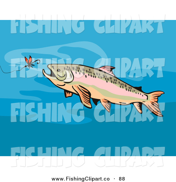 Clip Art of a Trout Chasing After Bait on a Hook in the Ocean