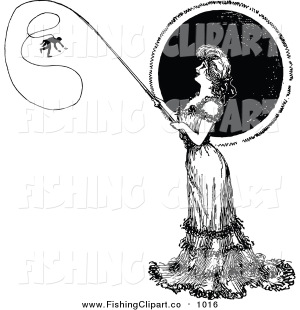 Clip Art of a Vintage Black and White Woman Catching a Man on a Fishing Pole