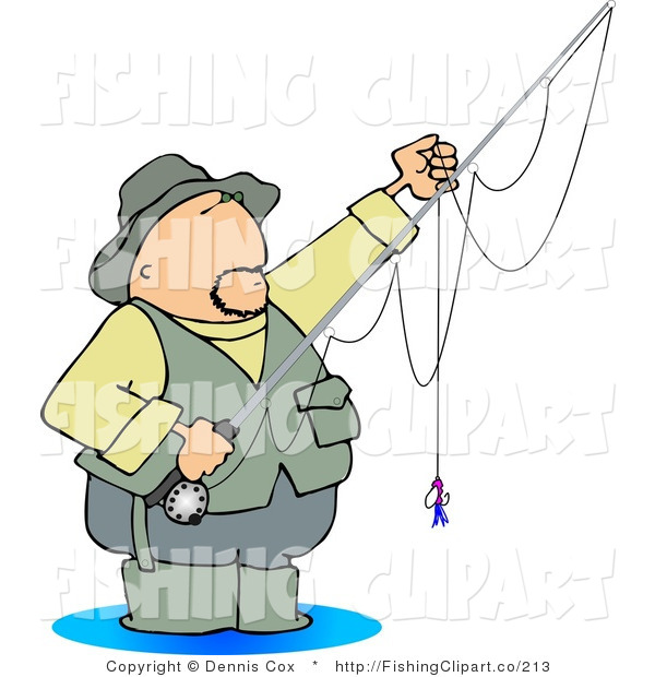 Clip Art of a Wading Fly Fisherman