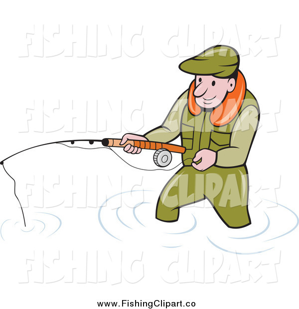 Clip Art of a Wading White Fisherman Holding a Pole