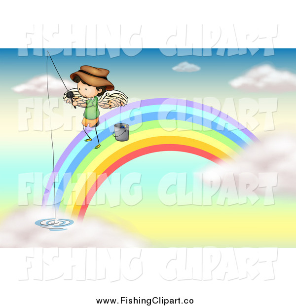Clip Art of a White Angel Boy on a Rainbow, Fishing in the Clouds