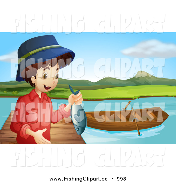 Clip Art of a White Boy Holding a Caught Fish by a Boat on a Dock