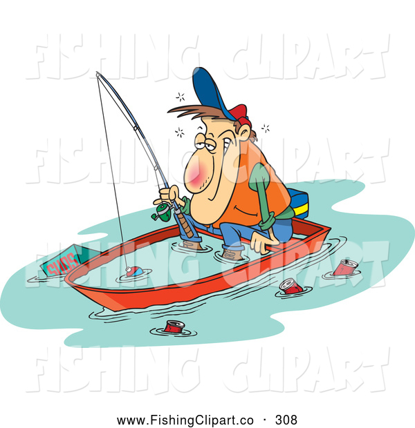 Clip Art of a White Cartoon Drunk Man Fishing in a Sinking Boat