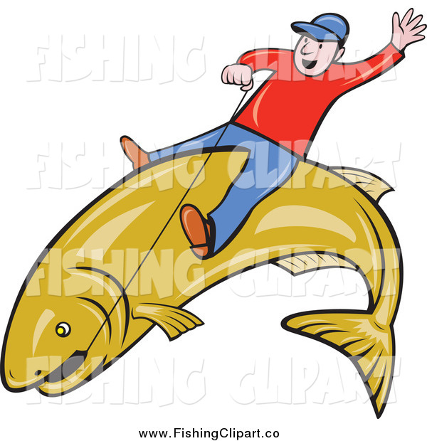 Clip Art of a White Man Riding a Large Fish and Holding on with Wire