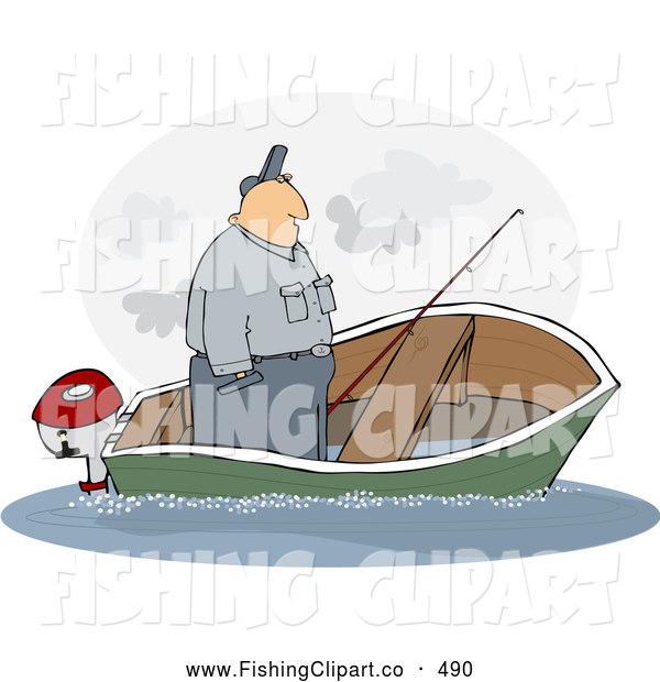 Clip Art of a White Man Standing up in a Sinking Fishing Boat