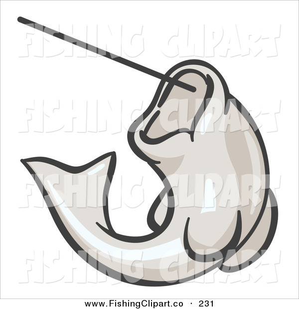 Clip Art of a White Trout Fish Jumping up and Biting a Hook on a Fishing Line