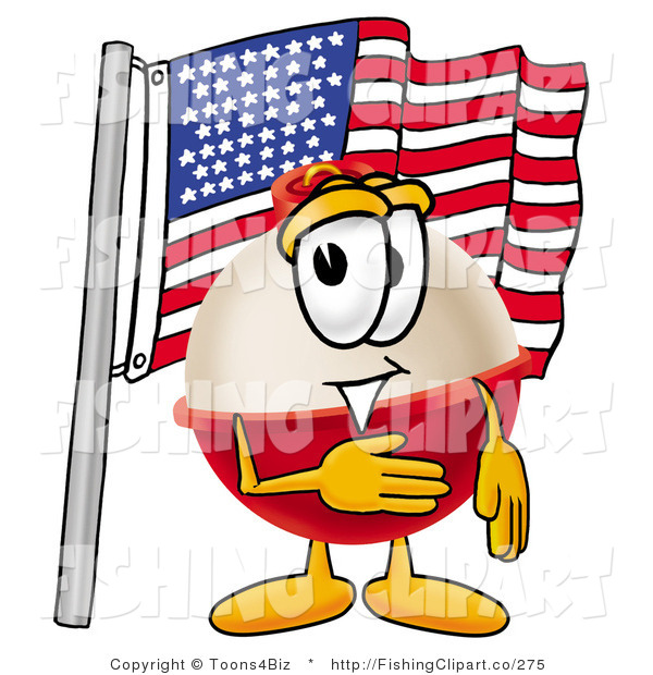 Clip Art of an American Patriotic Fishing Bobber Mascot Cartoon Character Pledging Allegiance to an American Flag