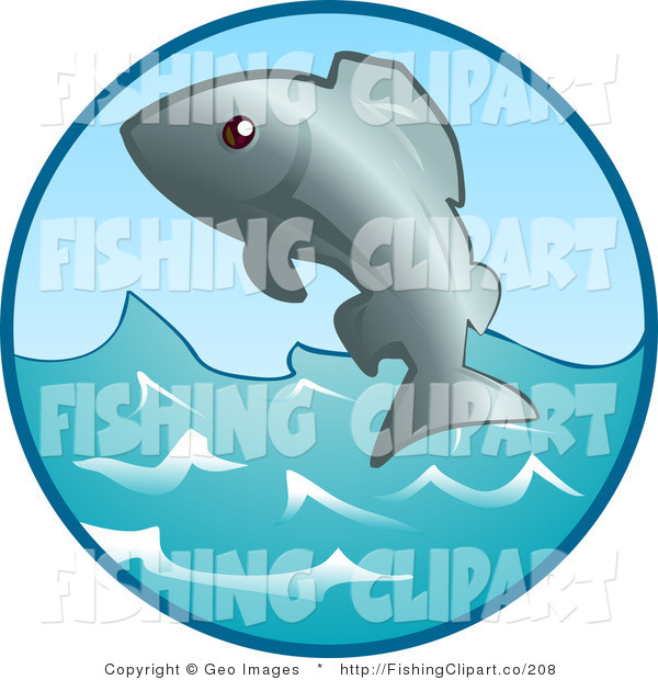 Clip Art of an Ocean Fish Jumping out of the Waves