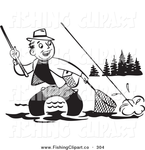 Clip Art of an Old Fashioned Black and White Man Wading and Trying to Get His Fish in a Net