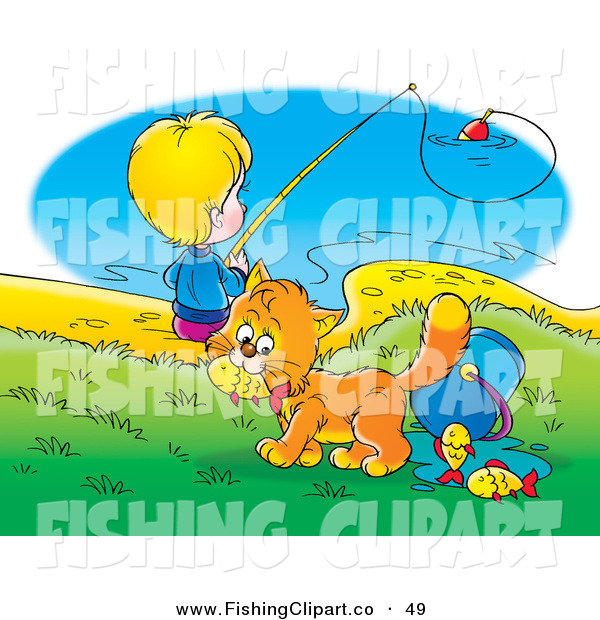 Clip Art of an Orange Cat Stealing Fish from a Bucket While a Boy Fishes in the Background