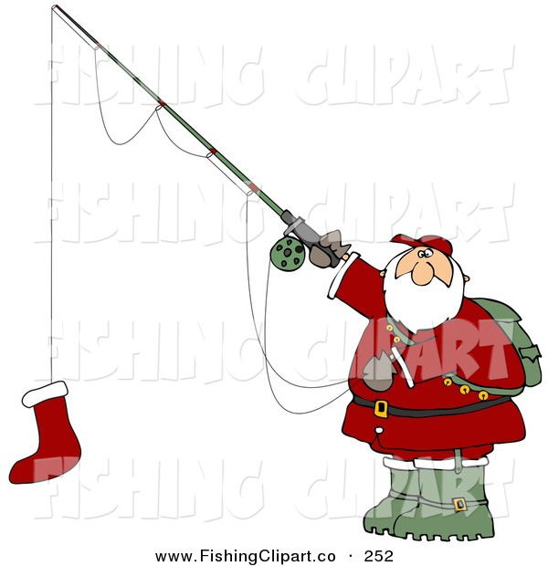 Clip Art of an Outdoorsy Santa Holding a Red Christmas Stocking on a Fishing Pole Hook