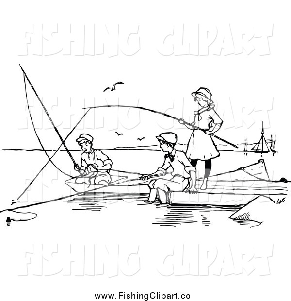 Clip Art of Black and White Children Fishing