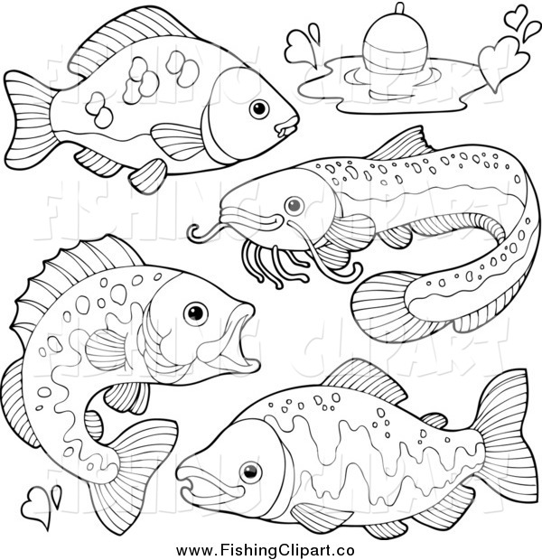 Clip Art of Black and White River Fish and a Bob