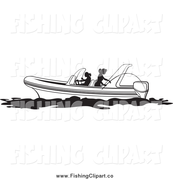 Clip Art of Black and White Women Fishing on a Boat