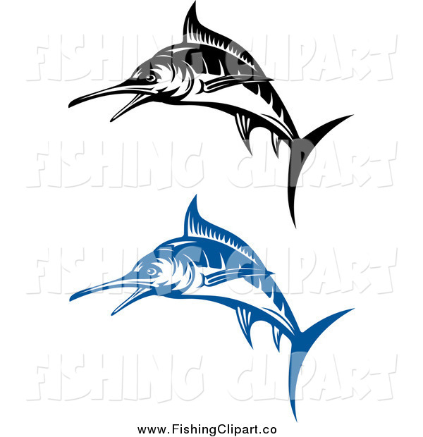 Clip Art of Blue and Black and White Jumping Marlin Fish