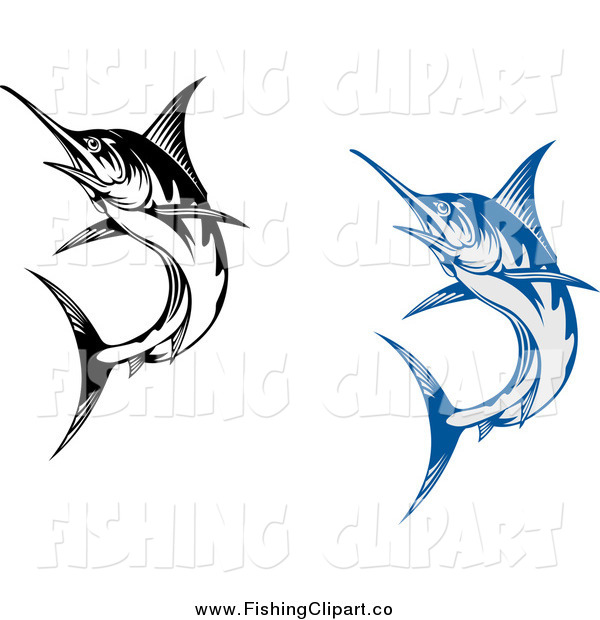 Clip Art of Blue and Black Marlin Fish