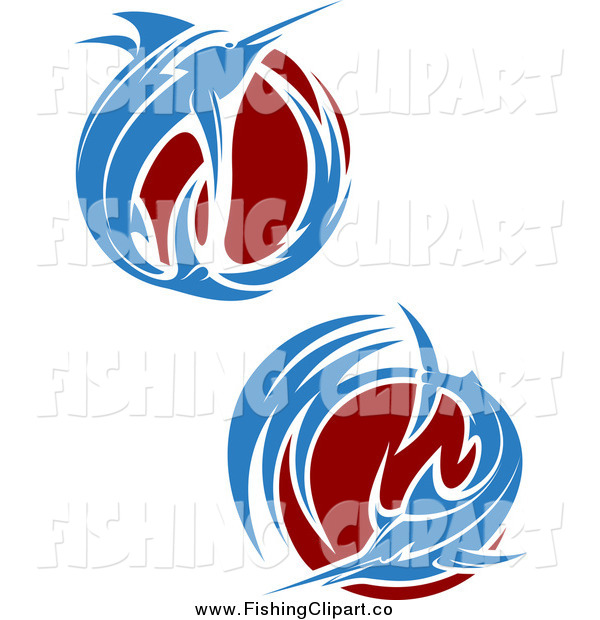 Clip Art of Blue Leaping Marlin Fish and Maroon Waves