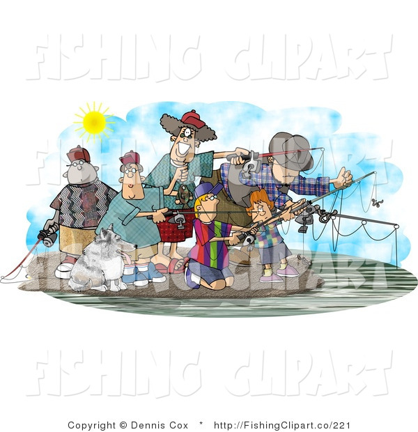 Clip Art of Family and Friends Fishing Together at a Lake on a Nice Day