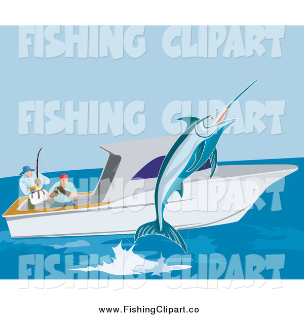 Clip Art of Fishers Catching a Marlin from a Boat