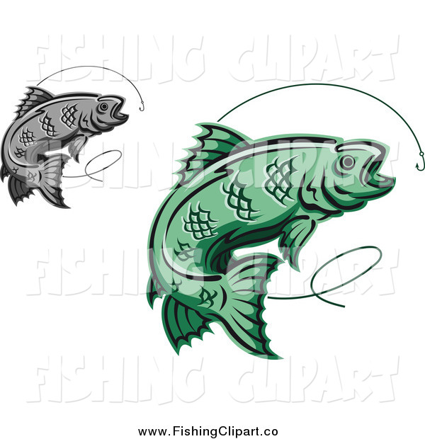 Clip Art of Green and Gray Trout Fish Leaping