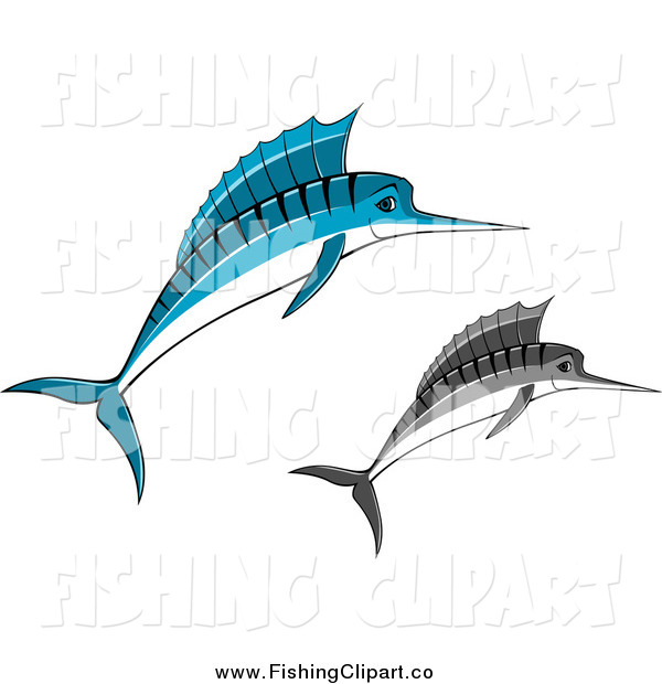 Clip Art of Jumping Blue and Grayscale Marlins