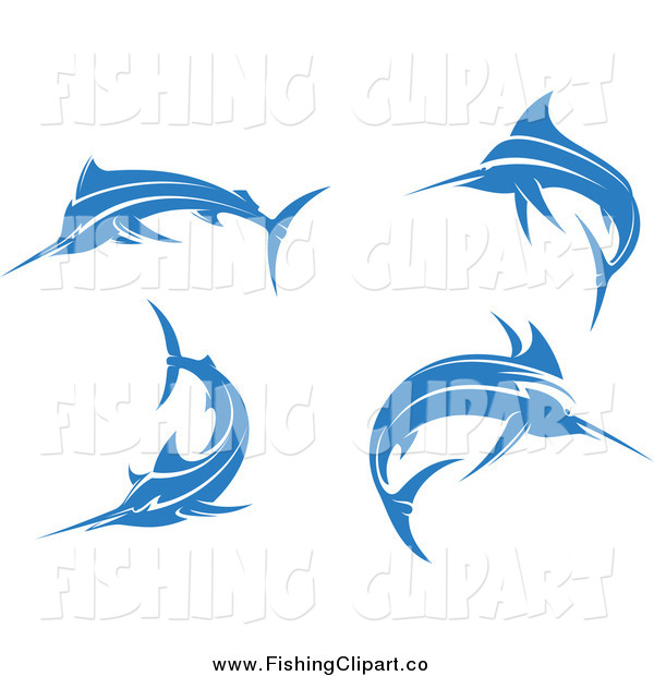 Clip Art of Jumping Blue Marlin Fishes