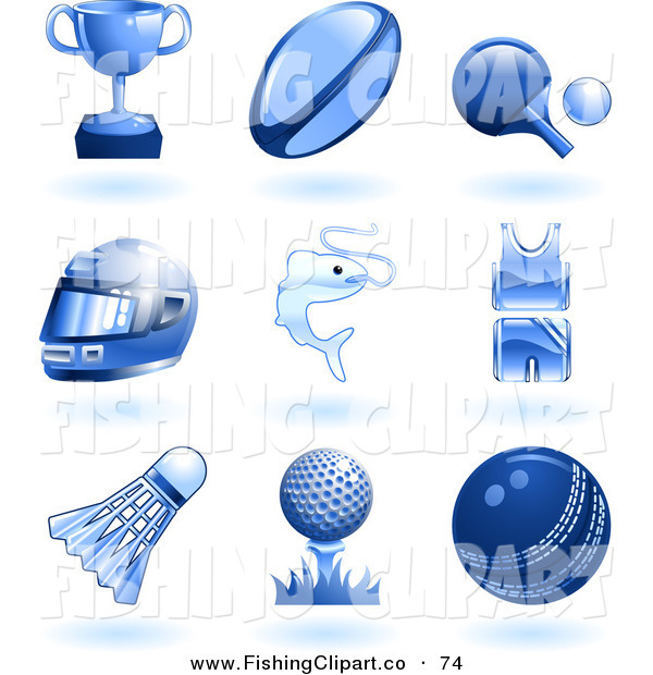 Clip Art of Nine Shiny Blue Sports and Recreation Icons