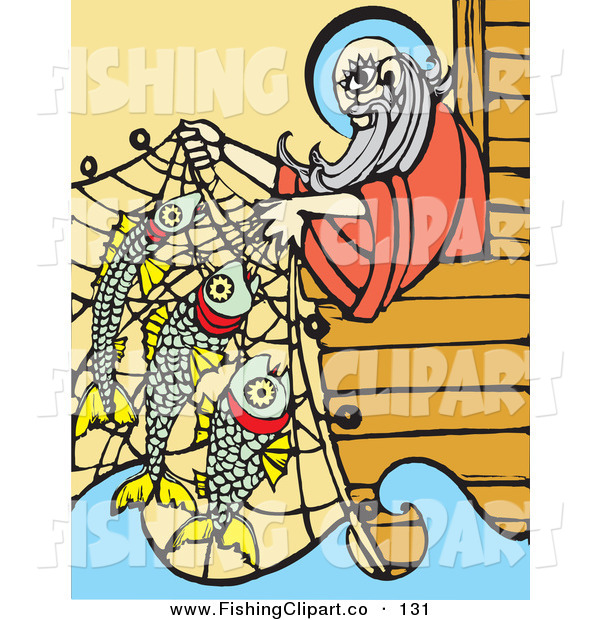 Clip Art of Noah Leaning over His Ark's Edge and Lifting Fish in a Net