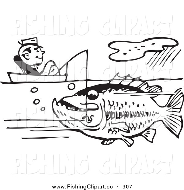 Clip Art of Old Fashioned Black and White Man Sitting in a Boat and Catching a Giant Fish