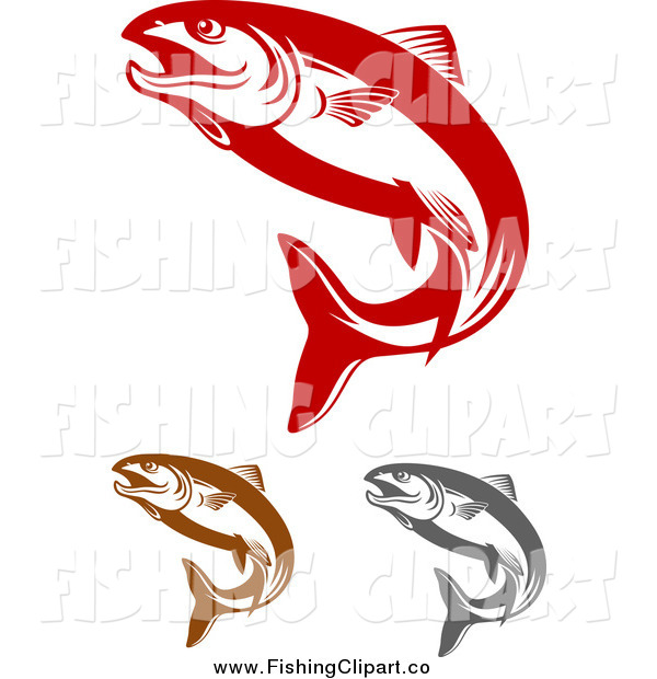 Clip Art of Red Brown and Gray Salmon Fish Jumping