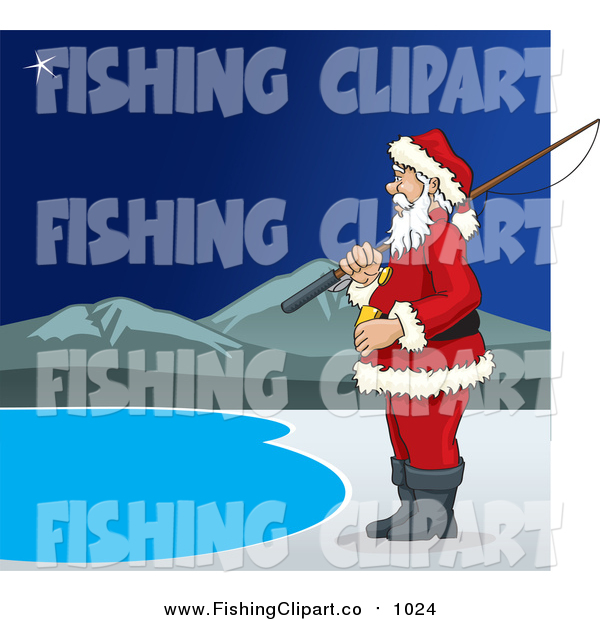 Clip Art of Santa Claus Standing with a Fishing Pole at a Lake