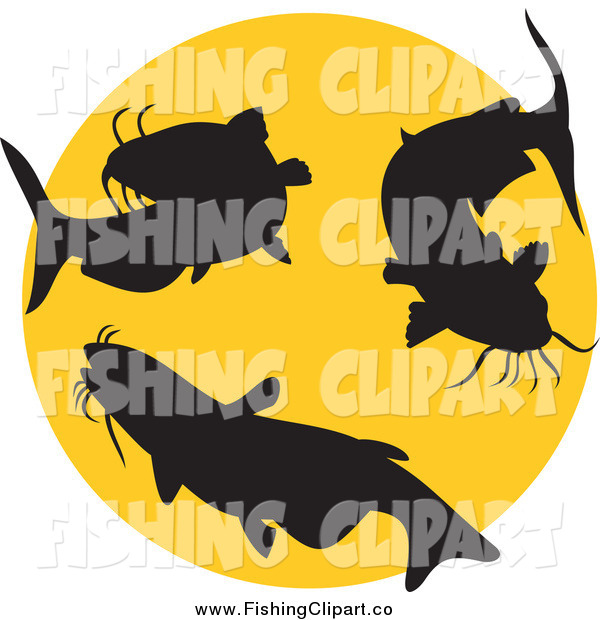 Clip Art of Silhouetted Catfish and a Yellow Circle