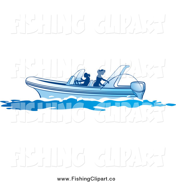 Clip Art of Silhouetted Women Fishing on a Boat
