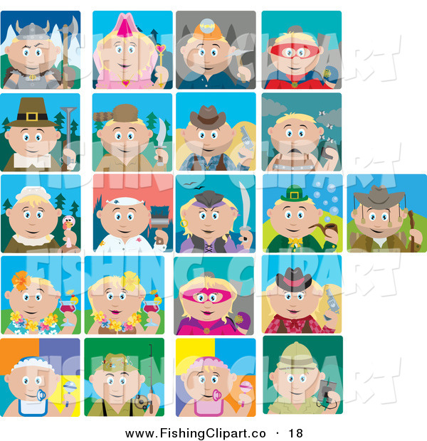 Clip Art of Twenty One Historical, Holiday and Occupation Scenes of Blond Caucasian Boys and Girls
