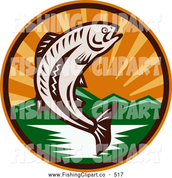 Retro Clip Art of a Woodcut Trout Jumping from a River with Mountains and Sun Rays in the Background - Coloring Page Outline