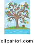 Clip Art of a Animals Fishing from a Swirl Tree by Graphics RF