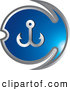 Clip Art of a Blue Fishing Anchor Design by Lal Perera
