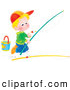 Clip Art of a Boy Kneeling and Preparing a Fishing Pole, Trying to Catch a Fish by Himself by Alex Bannykh