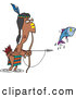 Clip Art of a Cartoon Native American Man Fishing with His Bow and Arrow by Toonaday