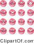 Clip Art of a Collection of Red Fishing Icons on White by AtStockIllustration