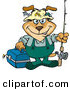 Clip Art of a Cute Dog Going Fishing by Dennis Holmes Designs