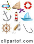 Clip Art of a Digital Collage of Ocean, Sea and Nautical Icons by TA Images
